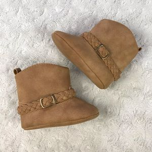 Carter's Baby Girl Boots Tan Braided Detail 0-3M
